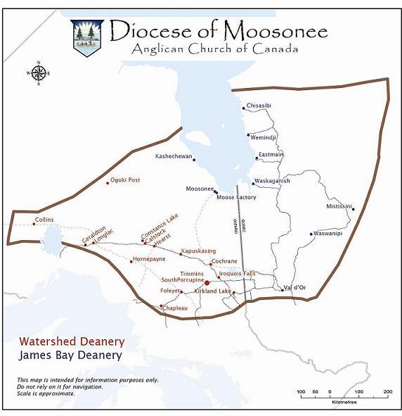 Map of the Diocese of Moosonee
