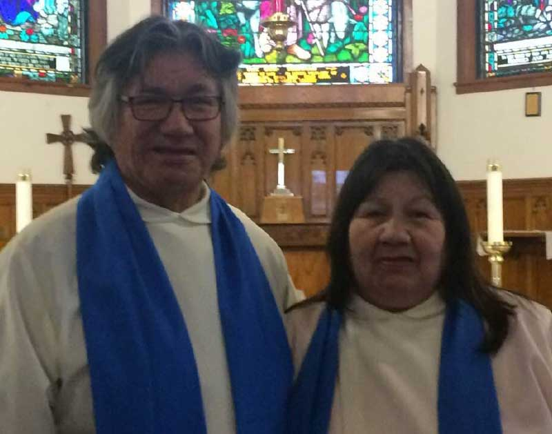 Graduates of the Moosonee School for Ministry Chief Leo Friday and Peggy Friday